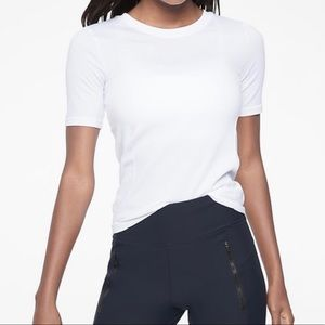 Athleta Renew Ribbed Tee white